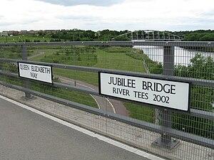 Jubilee Bridge (Stockton-on-Tees) - Image: Jubilee Bridge + Preston Pipe Bridge 1280
