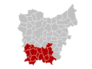 Arrondissement of Oudenaarde - Location of the judicial arrondissement in East-Flanders