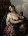 Judith with sword plunged into Holofernes' head. Coloured li Wellcome V0034527.jpg