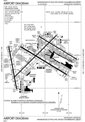 Plan de l'aéroport de Minneapolis-Saint-Paul.