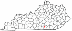 Location of Monticello, Kentucky
