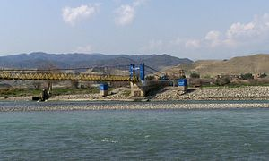 Bridge over the Kabul River east of Kabul, Afg...