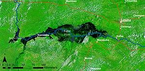 Kafue Flats - False colour NASA MODIS image of the Kafue Flats in flood and the Itezhi-Tezhi dam - 14 February 2008.