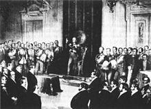 Holzstich der Kaiserdeputation 1849 (Quelle: Wikimedia)