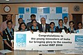 Kapil Sibal felicitated young geniuses of India who participated at the International Science and Engineering Fair (ISEF) 2008 in Atlanta under the IRIS (Initiative for Research and Innovation in Science), in New Delhi.jpg