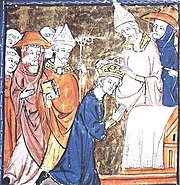 The coronation of Charlemagne depicted in the 14th century Grandes Chroniques de France