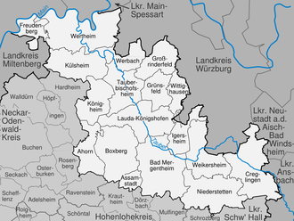 Main-Tauber-Kreis - cities and towns in the district of Main-Tauber
