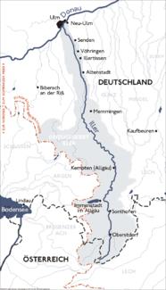 Verlauf und Einzugsbereich der Iller, mit mittlerem Oberlauf Stillach bis etwa Oberstdorf