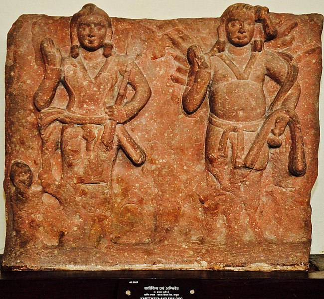 File:Karttikeya and Agni - Circa 1st Century CE - Katra Keshav Dev - ACCN 40-2883 - Government Museum - Mathura 2013-02-23 5717.JPG