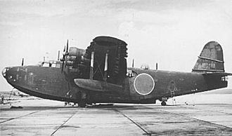 Kawanishi H8K - A Kawanishi H8K2 Type 2 Flying Boat ashore.
