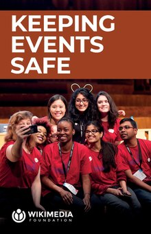 "The ""Keeping events safe"" booklet in PDF form. Its cover depicts a group of Wikimania 2014 volunteers taking a selfie."