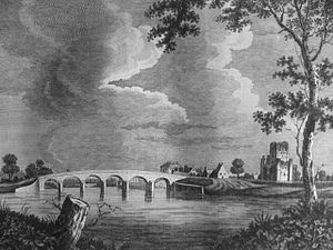 Kelso Bridge - Depiction of the old bridge and Kelso Abbey