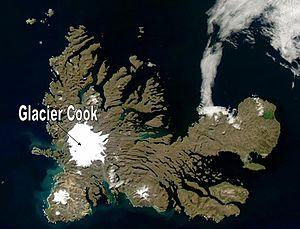 Cook Ice Cap - Location in Grande-Terre (Kerguelen) .