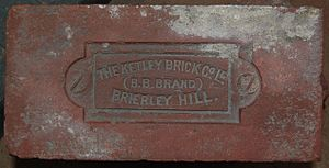 Brierley Hill -  'B.B. Brand' brick made by The Ketley Brick Co. Ltd. of Brierley Hill, displayed at the Black Country Living Museum
