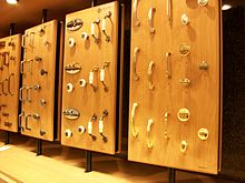 Kitchen cabinet hardware displayed in a store in 2009.