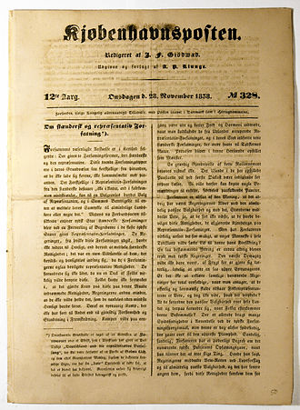 Kjøbenhavnsposten - Frontpage of Kjøbenhavnsposten from 28 November 1838