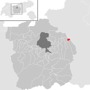 Location of the municipality of Kolsass in the Innsbruck-Land district (clickable map)
