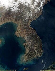 Satellitenbild der Koreanischen Halbinsel