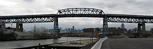 Kosciuszko Bridge (New York City) - The bridge as seen from upstream Queens side, 2008