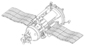Kosmos 1686. Note the VA capsule (left), heavily modified to house scientific instruments