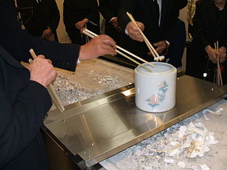 Bone-picking ceremony at a Japanese funeral Kotsuage.JPG