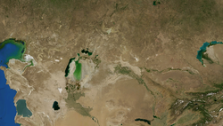 Satellite view of Kyzyl Kum desert
