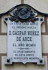 Lápida conmemorativa de Gaspar Núñez de Arce