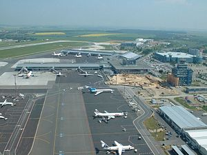 Airport apron - The apron area of Prague Václav Havel Airport in the Czech Republic
