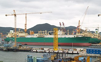 LNG carrier - LNG carrier under construction at DSME shipyard, Okpo-dong