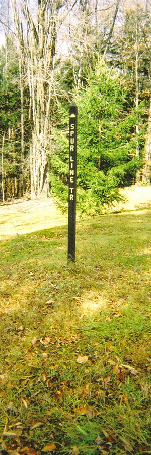Lyman Run State Park - A trail marker for the Spur Line Trail