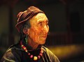 Lady in Hemis Gompa, Ladakh, India in the year 1981.JPG