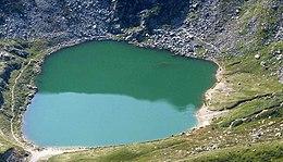 Quadro lago con in torno il verde stampa su tela canvas