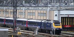 Laira Traction & Rolling Stock Maintenance Depot - A High Speed Train stands in the carriage sidings beside the depot.