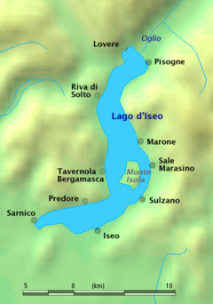 Езеро Изео  Lago d'Iseo - map