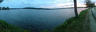 Wakefield, Massachusetts - Panoramic view of Lake Quannapowitt from its eastern shore, looking westward — June 2016
