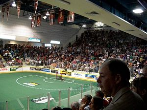 Peterborough Lakers (MSL) - Lakers fans fill the Memorial Centre during game 7 of the 2011 MSL semi-finals against the Six Nations Chiefs.