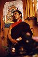 Lama Pema Wangyal Rinpoche, Nyingmapa lama, with Shri Mahakala thangka, Seattle, Washington, USA, in 1976.jpg