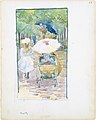 Large Boston Public Garden Sketchbook- A mother pushing her baby in a perambulator, with her daughter at her side MET DT3417.jpg