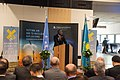 Lassina Zerbo, CTBTO Executive Secretary, at the opening of the ATOM Project Exhibition in the Vienna International Centre on 28 October 2013 (10537990043).jpg