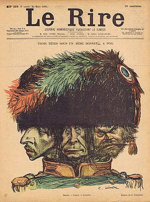 Ligue de la patrie française - 1899 caricature by Charles Lucien Léandre depicting Barrès, Coppée and Lemaître as the three heads of the League