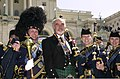 Led by Drum Major Senior Master Sergeant Jack Story members of the US Air Force Reserve Pipe Band from Robins Air Force Base, Georgia, pose for a group photo with Sir Sean Connery on the Lower West Terrace of 010405-F-FC975-009.jpg