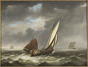 Beurtvaart - Early 19th-century painting, showing beurtvaarders between Lemmer and Amsterdam