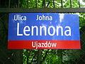 Lennon Street in Warsaw - Street sign.JPG