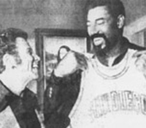 Golden Hall (arena) - Wilt Chamberlain and Leonard Bloom in 1973. Chamberlain was to join the Q's as a player-coach. The Los Angeles Lakers challenged the signing and Chamberlain was unable to play for the Q's. He did remain as coach.