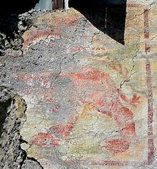 Ciò che resta del Leone di San Marco, affresco del XVI sec. in contrada Cavagnoli
