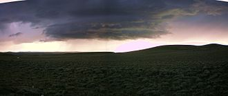 Continental Divide Trail - Lightning and hail storms appear with little warning in the Great Divide Basin of Wyoming; there is no place to hide.