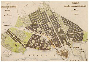 Albert Lindhagen - Lindhagen's 1886 city plan for northern central Stockholm.