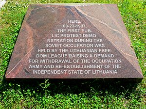 Lithuanian Liberty League - Monument dedicated to the protest of 23 August 1987