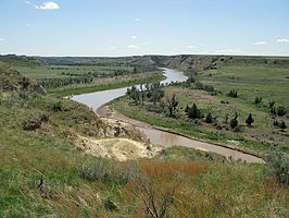 De Little Missouri River in Theodore Roosevelt National Park