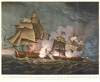 Little Belt affair - A 16 May 1811 engraving shows USS President battling HMS Little Belt